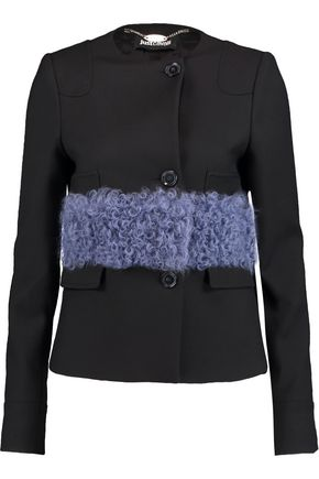JUST CAVALLI Faux shearling-paneled twill coat