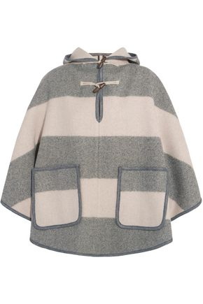 M.I.H JEANS Honor hooded striped wool-blend twill cape
