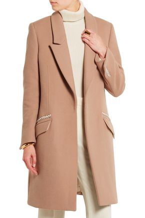 TOD'S Leather-trimmed wool and cashmere-blend coat