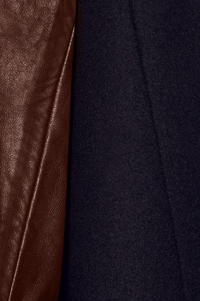 THEORY Quennel leather-paneled felted wool-blend coat