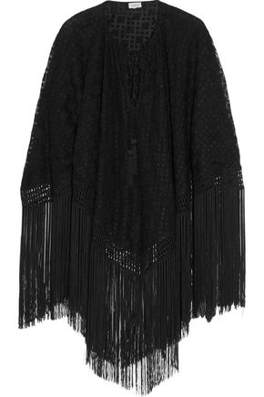 TALITHA Tasha fringed embroidered tulle-silk cape