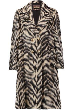 ROBERTO CAVALLI Printed brushed wool-blend coat