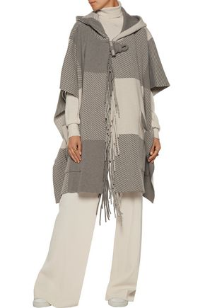 CHLOÉ Fringed intarsia wool-blend hooded cape