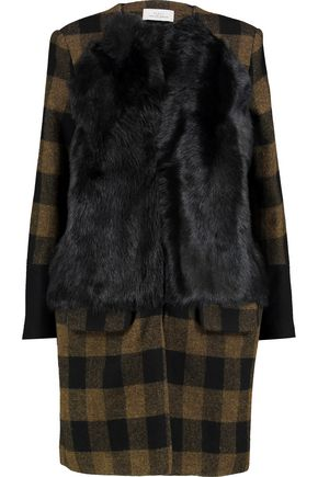PREEN by THORNTON BREGAZZI Leda shearling-trimmed checked wool coat