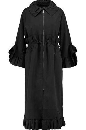 GOEN.J Ruffle-trimmed drawstring cotton-blend poplin coat
