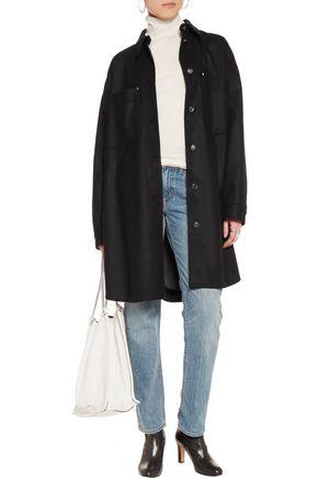 MM6 by MAISON MARGIELA Faux glossed-leather trimmed wool-blend coat