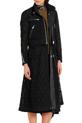 SACAI Broderie anglaise cotton coat