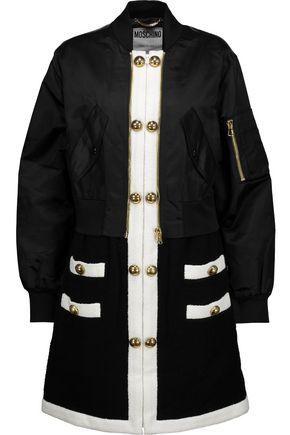 MOSCHINO Paneled wool-blend and gabardine coat