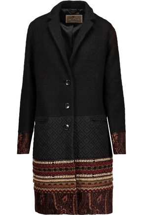 ETRO Embellished wool-blend jacquard and matelassé coat
