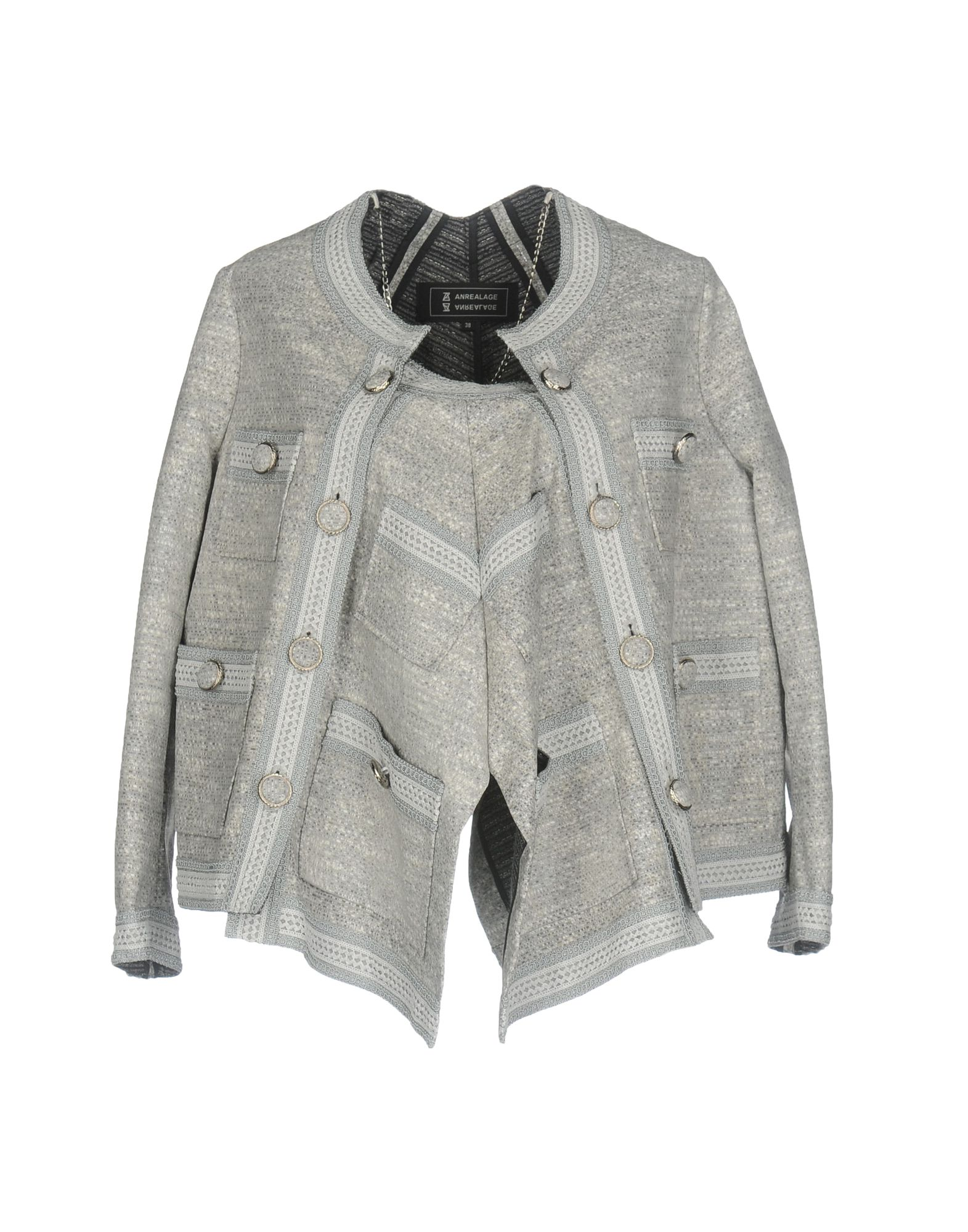 ANREALAGE Double Breasted Pea Coat in Light Grey