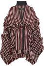BURBERRY Fringed  herringbone-jacquard wool-blend cape