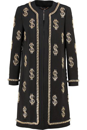 MOSCHINO Chain-embellished crepe jacket