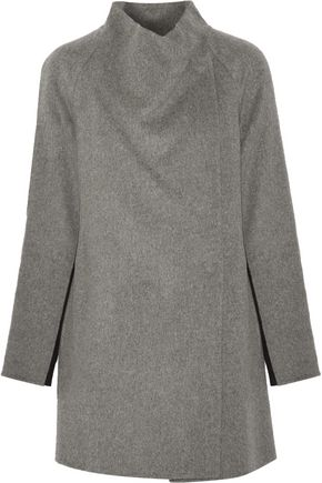 VINCE. Two-tone brushed and knitted wool-blend coat