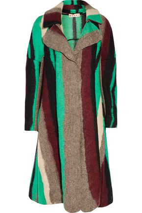 MARNI Striped wool and silk-blend coat