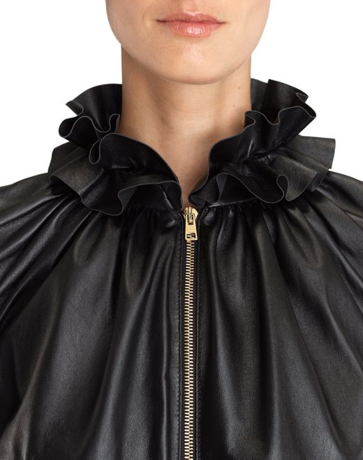 lanvin gathered leather jacket women