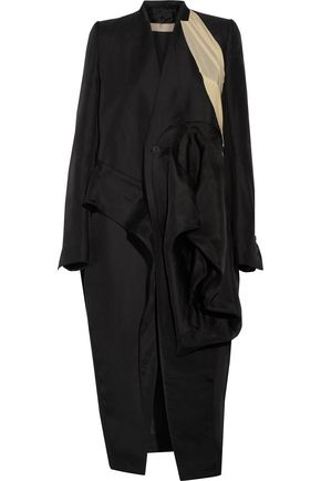RICK OWENS LILIES Candy crepe de chine-paneled gathered silk-gabardine coat