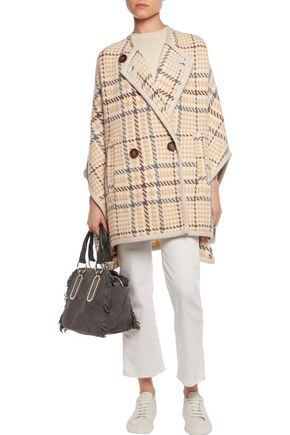 SEE BY CHLOÉ Checked wool-blend cape