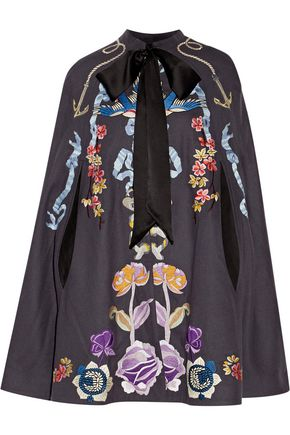 TEMPERLEY LONDON Sail satin-trimmed embroidered wool cape
