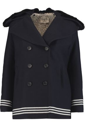 SEA Double-breasted shearling-paneled wool-blend twill coat
