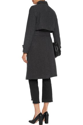 GANNI Checked wool-blend trench coat