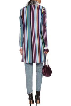 MISSONI Striped metallic crochet-knit wool-blend coat