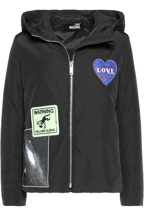LOVE MOSCHINO Appliquéd cotton-blend hooded jacket