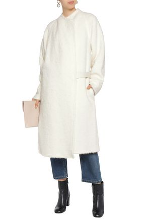 HELMUT LANG Shaggy belted alpaca and wool-blend coat
