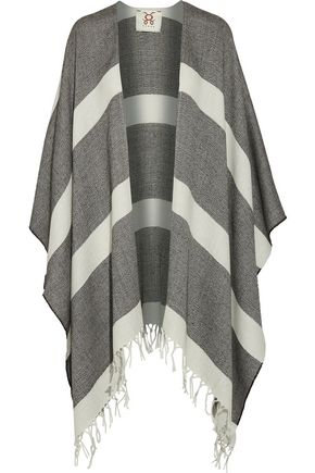 FIGUE Raj fringed striped alpaca cape