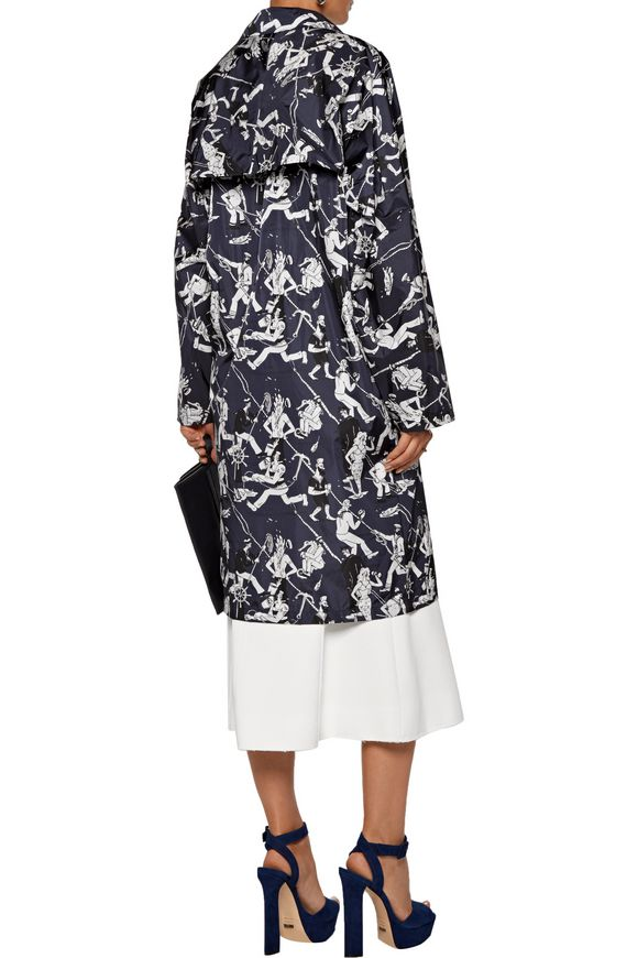 Leather-trimmed printed shell coat | PRADA | Sale up to 70% off | THE OUTNET