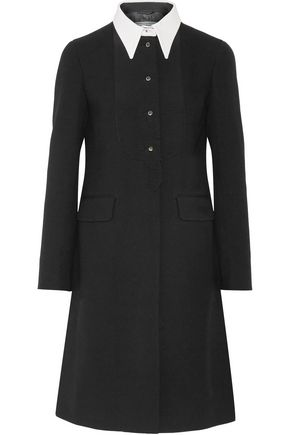 PRADA Two-tone wool-crepe peplum coat