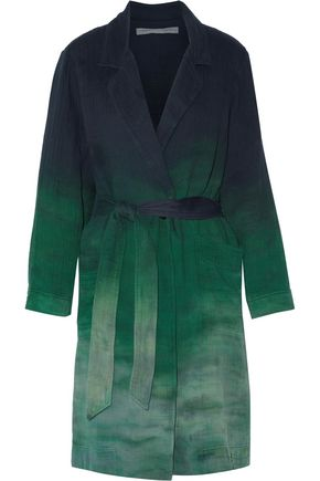 RAQUEL ALLEGRA Belted dégradé cotton-gauze trench coat