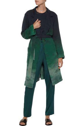 RAQUEL ALLEGRA Belted dégradé cotton-gauze trench coat