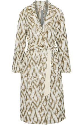 RAQUEL ALLEGRA Metallic slub cotton-blend jacquard trench coat