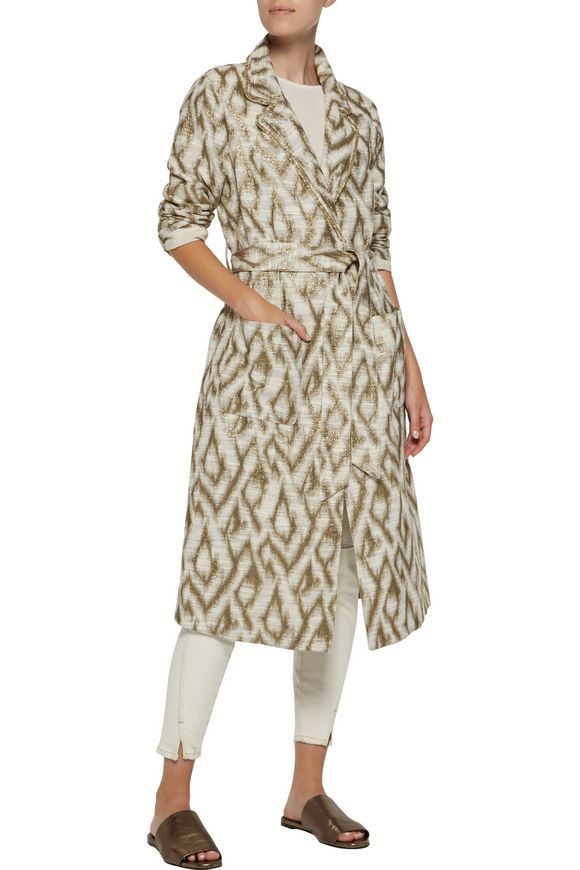 Metallic slub cotton-blend jacquard trench coat | RAQUEL ALLEGRA | Sale up  to 70% off | THE OUTNET