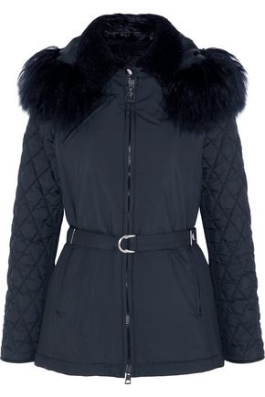 CHLOÉ Hooded shearling-trimmed quilted shell jacket