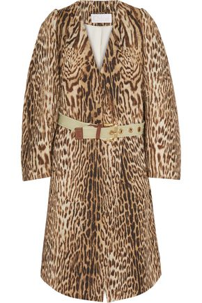 CHLOÉ Leopard-print cotton-blend jacquard coat