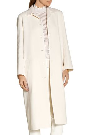 NINA RICCI Silk-trimmed wool-blend coat