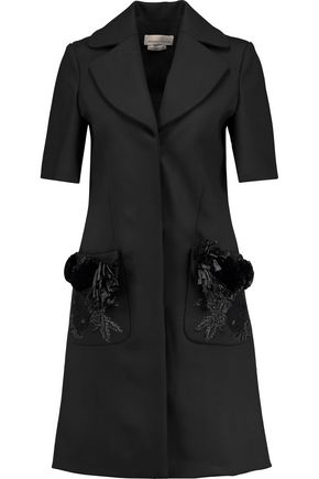MERCHANT ARCHIVE Appliquéd wool-blend coat