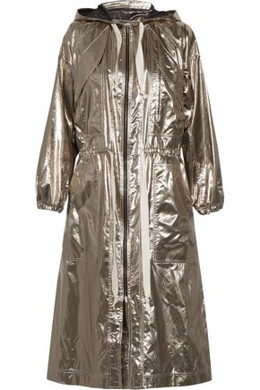 ISABEL MARANT Namil metallic silk-blend hooded coat