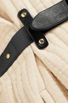 ISABEL MARANT Gabin leather-trimmed cotton-matelassé coat