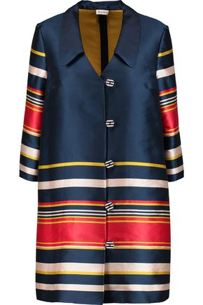 SUNO Striped satin-twill coat