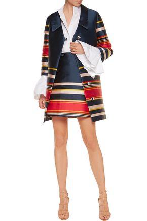SUNO Striped satin-twill coat
