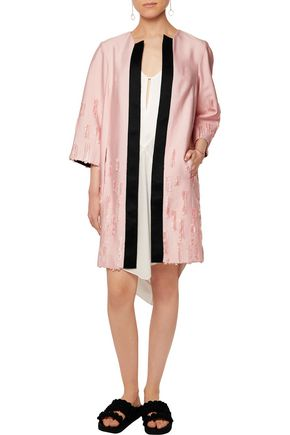 AMANDA WAKELEY Satin-trimmed distressed crepe coat