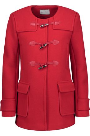SANDRO Pekin leather-trimmed wool-blend coat