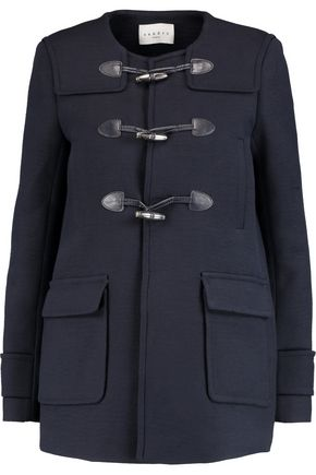 SANDRO Mathea leather-trimmed cotton-blend coat