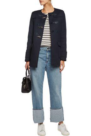 SANDRO Mathea leather-trimmed cotton-blend coat