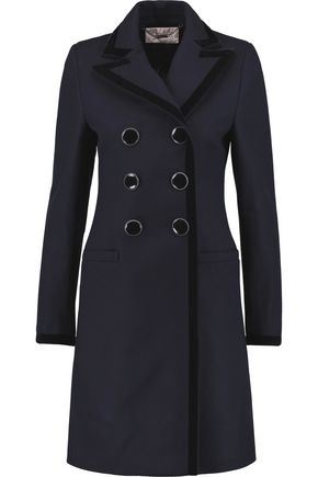 GOAT Cavendish velvet-trimmed wool and cotton-blend coat