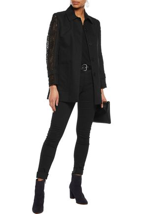 MAJE Paneled guipure lace and cotton-twill coat
