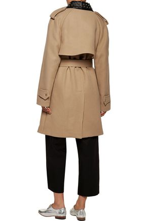J.W.ANDERSON Studded faux leather-trimmed wool-blend twill trench coat