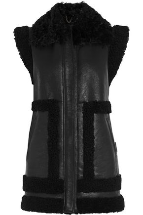 IRIS & INK Bridget shearling-trimmed leather gilet